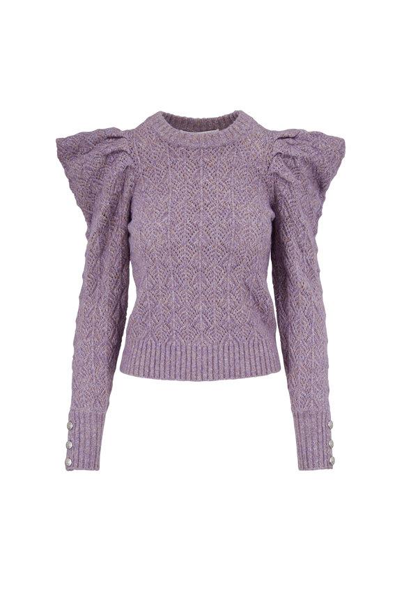 Veronica Beard Novah Lilac Puffed Sleeve Sweater