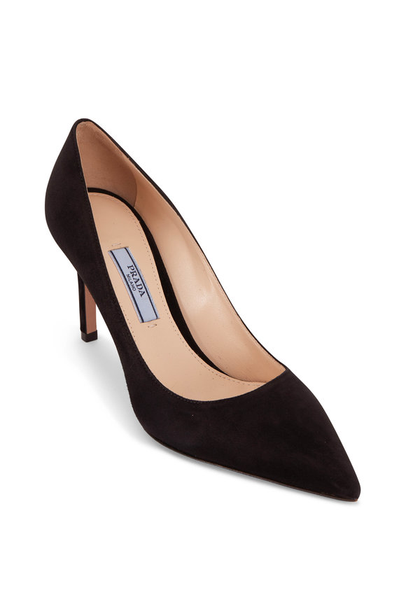 Prada Black Suede Pump, 85mm