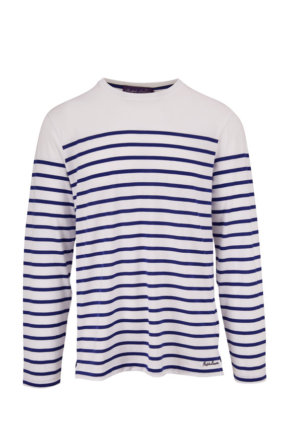 Ralph Lauren White & Blue Stripe Long Sleeve T-Shirt
