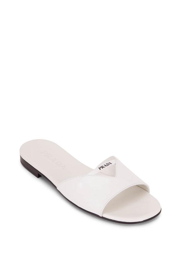 Prada White Patent Leather Pool Slide