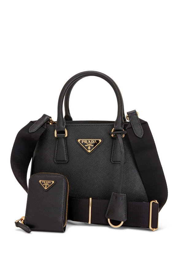 Prada Black Leather Top Handle Handbag