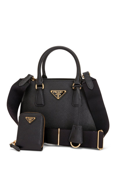 Prada - Black Leather Top Handle Handbag