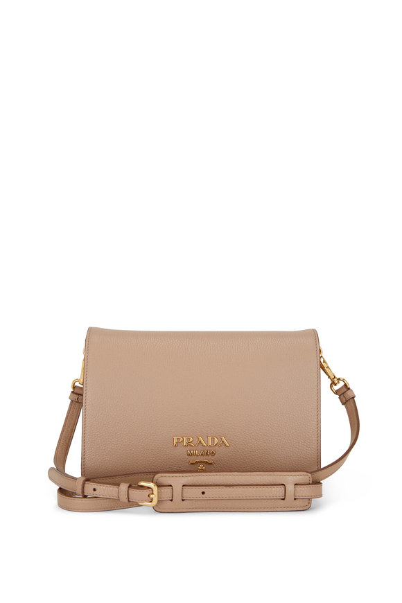 Prada Nude Leather Front Flap Crossbody