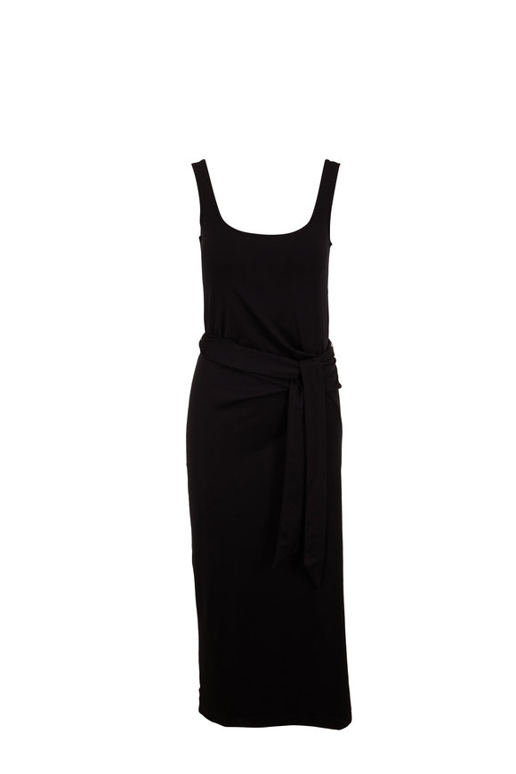 Vince Black Cotton Sleeveless Wrap Dress