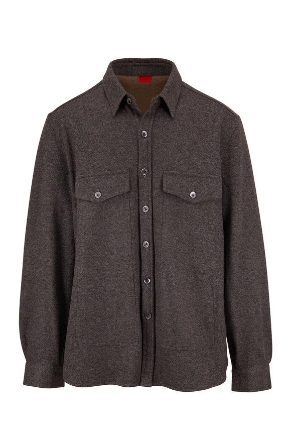 Isaia Grey Cashmere Overshirt