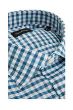 Ermenegildo Zegna - Navy Check Cotton & Linen Dress Shirt