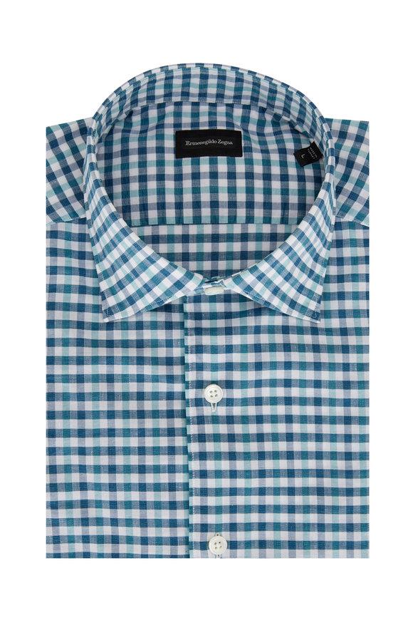 Ermenegildo Zegna Navy Check Cotton & Linen Dress Shirt