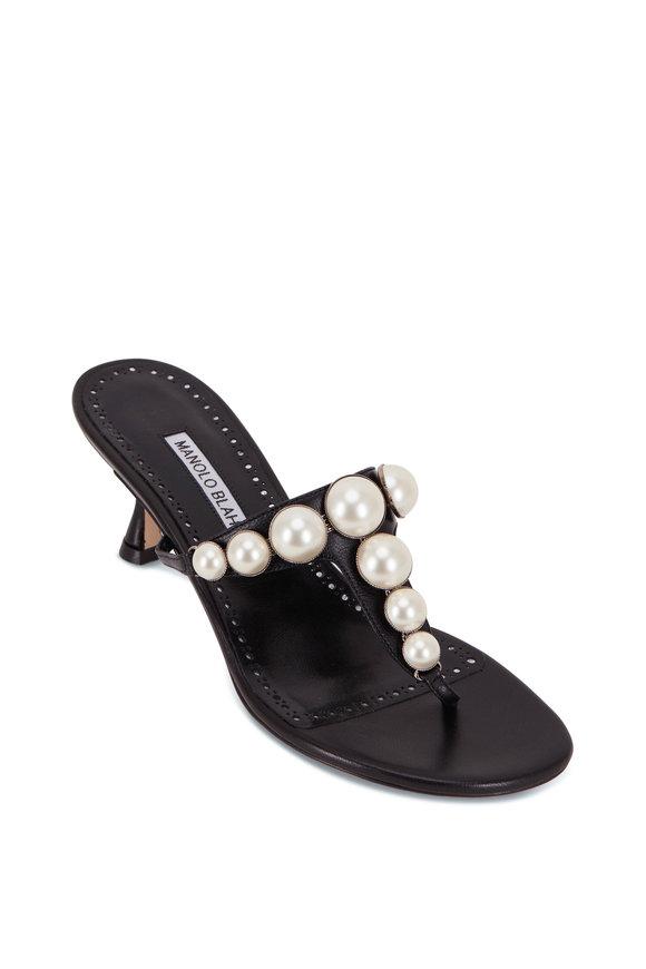 Manolo Blahnik Black Pearl Thong Sandal