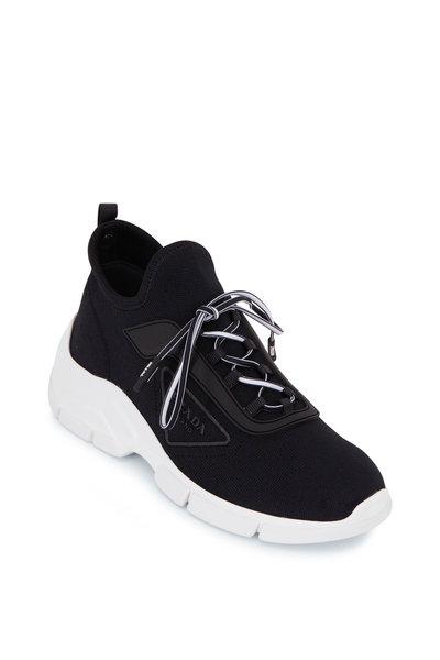 Prada - Black Knit Lace Up Runner