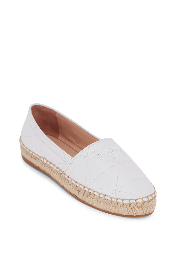 Prada White Quilted Leather Flat Espadrille