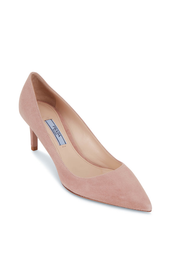 Prada Nude Suede Pump, 65mm