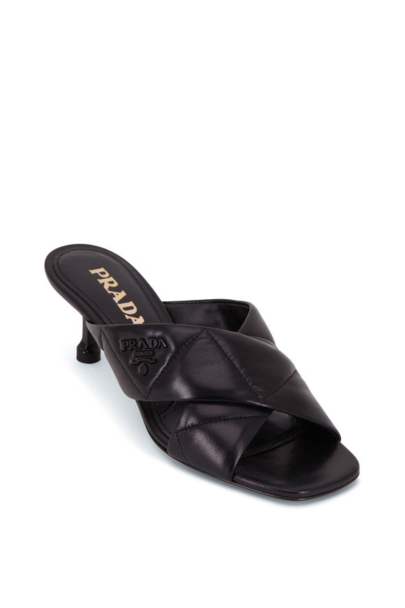 Prada Black Quilted Leather Mule, 55mm