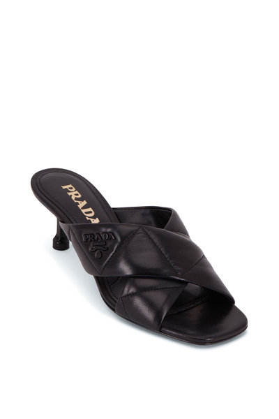 Prada - Black Quilted Leather Mule, 55mm