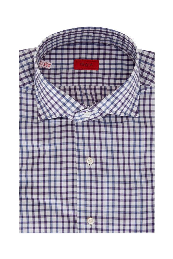 Isaia Navy & White Check Sport Shirt