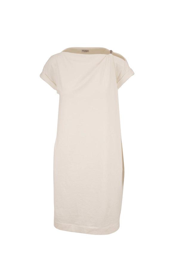 Brunello Cucinelli Natural White Monili Tube Shoulder Dress
