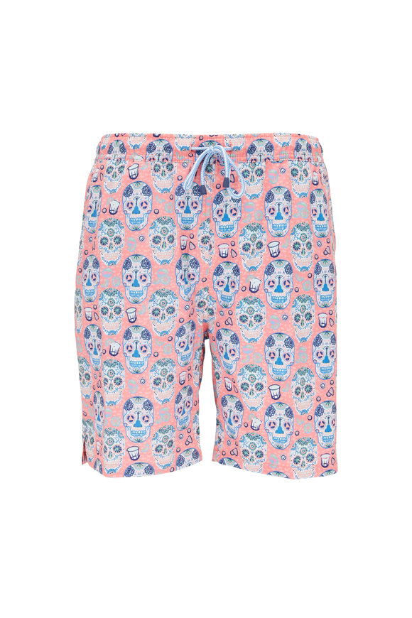 Peter Millar Sugar Skulls & Tequila Wild Salmon Swim Trunks