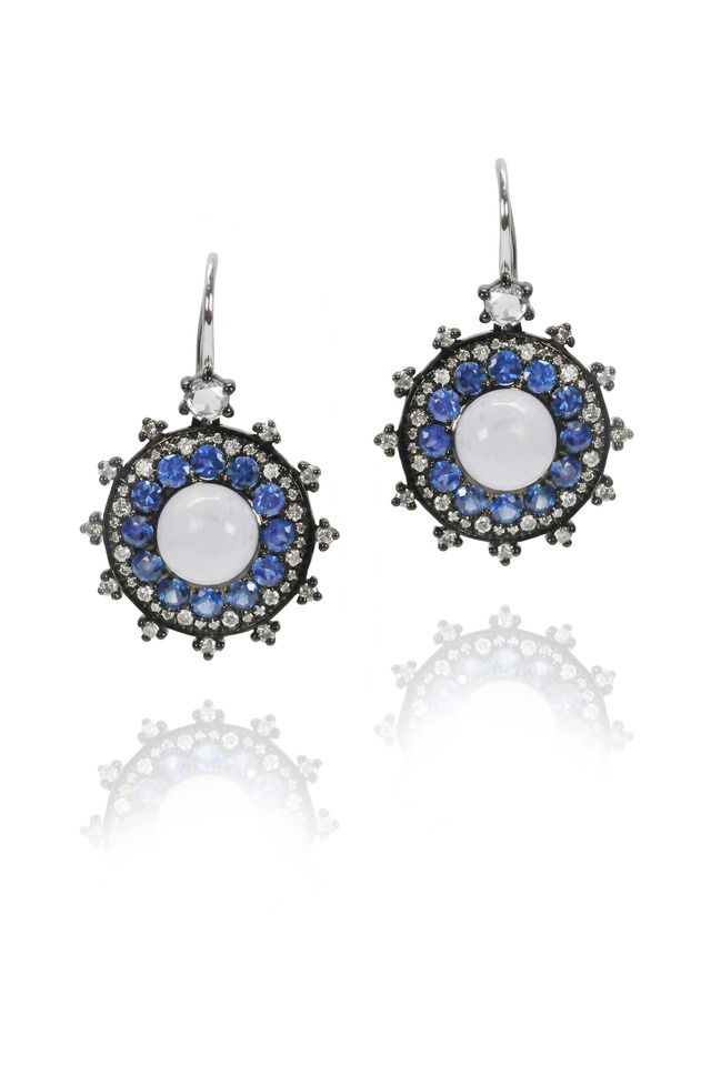 Blue Sapphire Small Bullseye Earrings