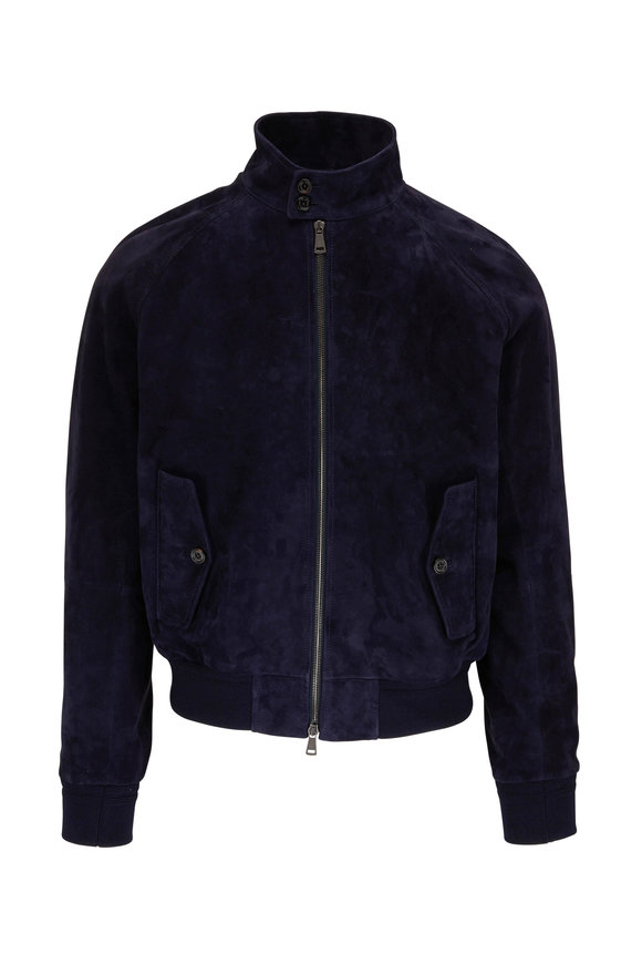 Ralph Lauren Navy Torrence Suede Jacket