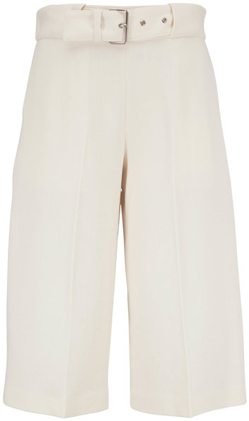 Rosetta Getty Ivory Wool Crepe Belted Culottes