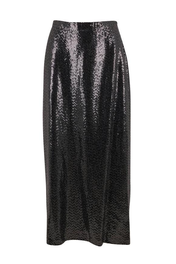 Rosetta Getty Black & Silver Paillette Pull On Skirt
