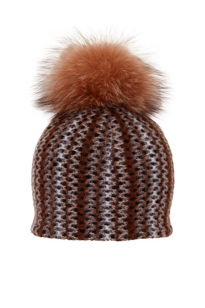 Viktoria Stass - Multi Gray Stripe Knit Pom Pom Hat