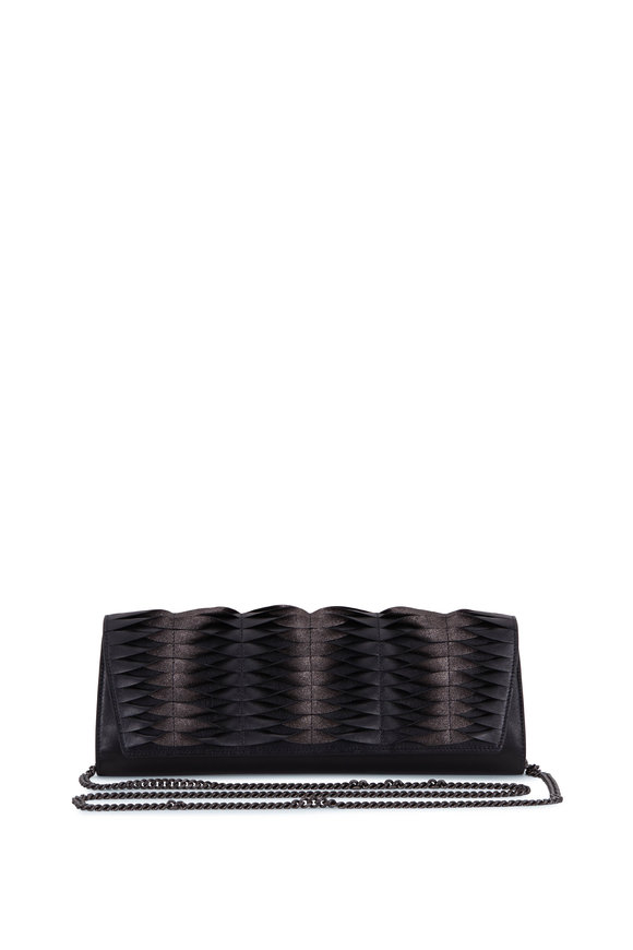 Akris Anouk Matte Black Pleated Leather Clutch