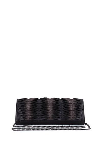Akris - Anouk Matte Black Pleated Leather Clutch