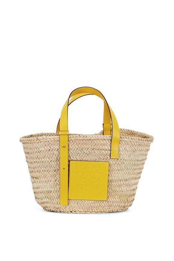 Loewe Basket Natural & Yellow Raffia Bag