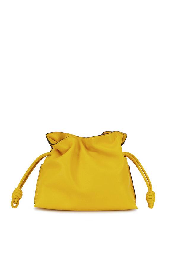 Loewe Flamenco Yellow Leather Mini Knot Bag