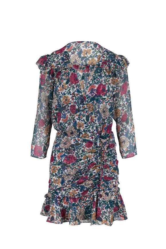 Veronica Beard Marilla Floral Silk Three-Quarter Sleeve Dress
