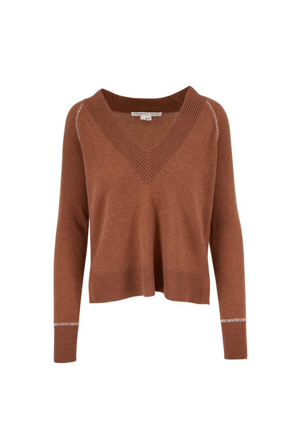 Veronica Beard Preta Camel Cashmere V-neck Sweater