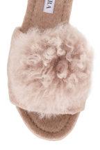 Aquazzura - Foxy Oatmeal Alpaca Pom Pom Slide