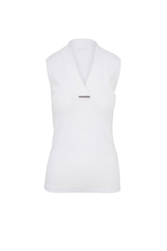 Brunello Cucinelli White Cotton Ribbed Sleeveless V-Neck Tank