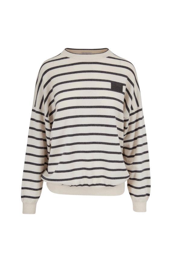 Brunello Cucinelli Ecru Cashmere & Wool Stripe Sweater