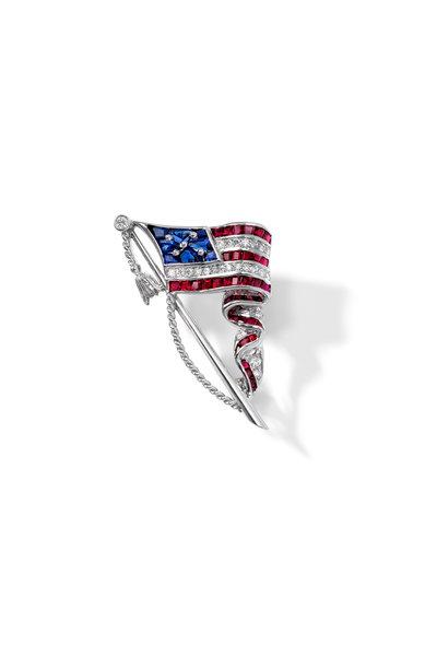 Oscar Heyman - Platinum American Flag Brooch