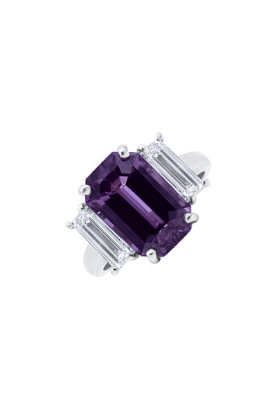 Oscar Heyman - Platinum Purple Sapphire & Diamond Ring