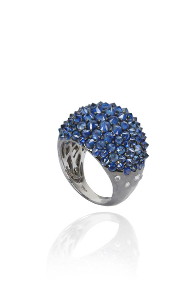 Nam Cho - 18K White Gold Blue Sapphire & Diamond Ring