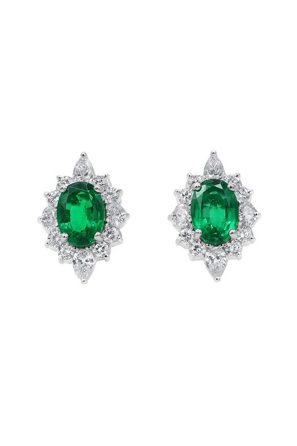 Oscar Heyman Platinum Emerald & Diamond Earrings