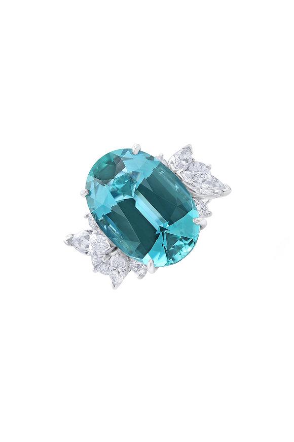 Oscar Heyman Platinum Aquamarine & Diamond Ring
