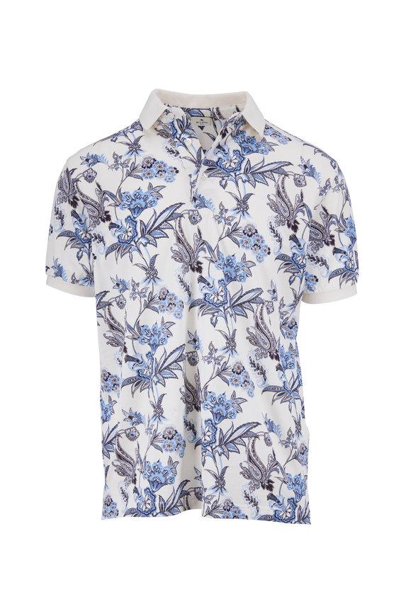 Etro Blue & White Floral Print Polo