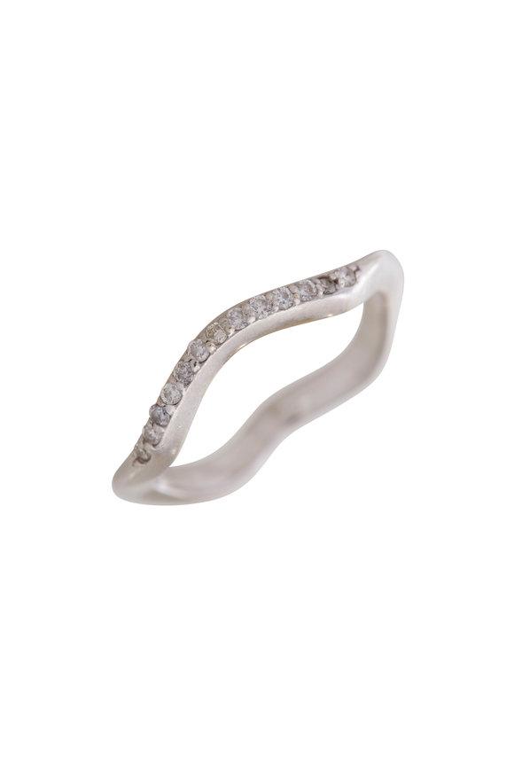 Sandy Leong 18K White Gold Canyon Diamond Stack Ring