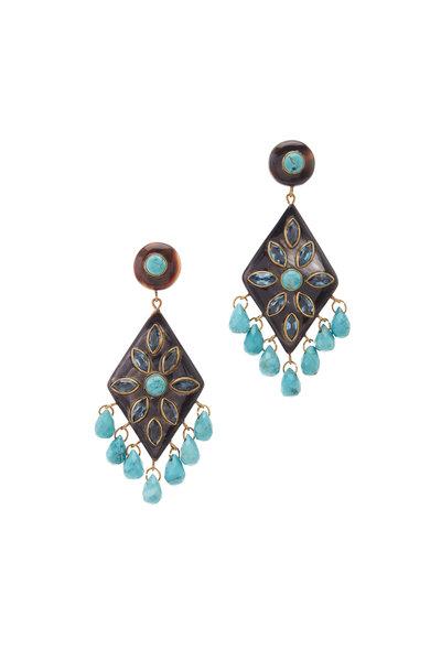 Ashley Pittman - Turquoise, Blue Topaz & Mixed Horn Earrings