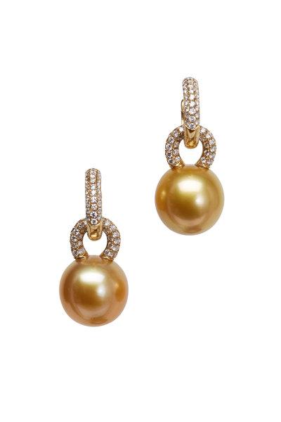 Kathleen Dughi - Yellow Gold Beguile Pearl Diamond Earrings