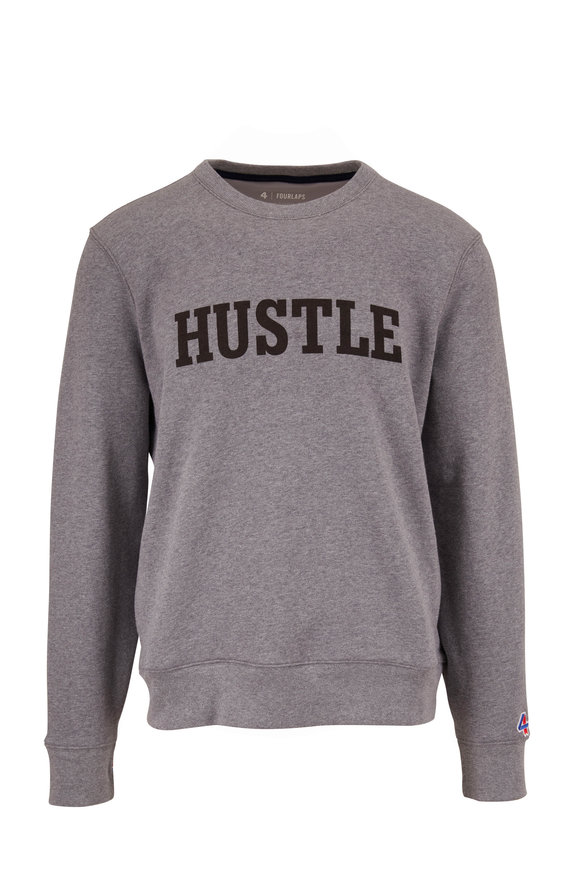 Fourlaps Gray Graphic Fleece Crewneck Sweatshirt