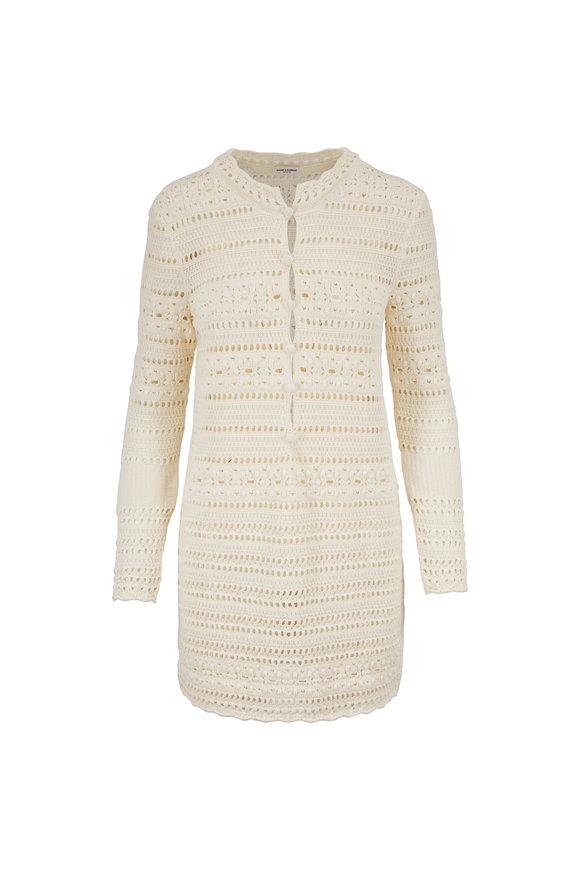 Saint Laurent Jane Off White Crochet Mini Dress