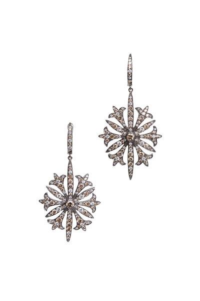 Bochic - White Gold White Diamond Gothic Starburst Earrings
