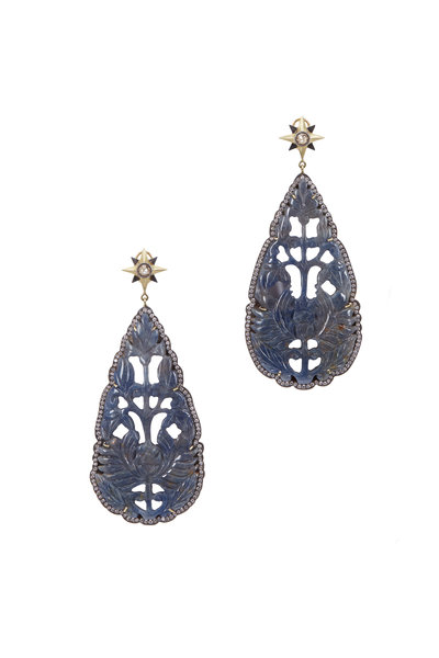 Sylva & Cie - Yellow Gold Hand Carved Sapphire Diamond Earrings