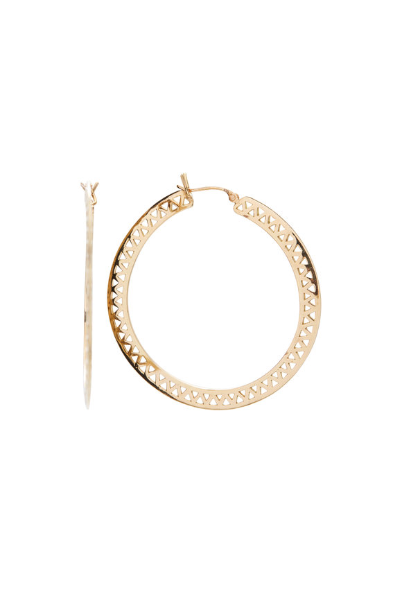 Ray Griffiths 18K Yellow Gold Knife Edge Hoops