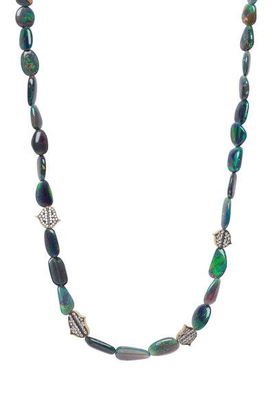 Sylva & Cie - Yellow Gold Flat Opal Bead Diamond Necklace