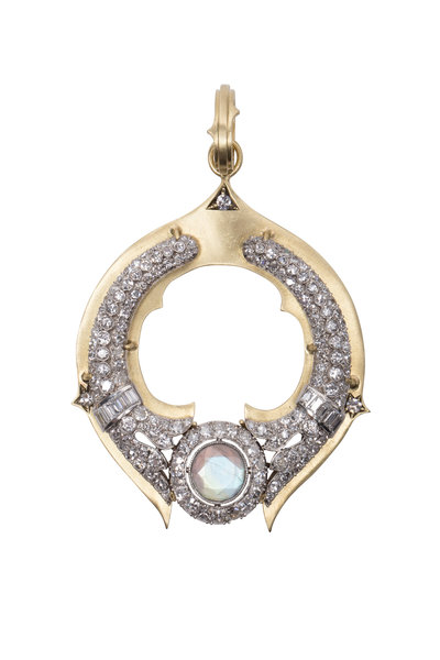 Sylva & Cie - Gold Moonstone Diamond Art Deco Vintage Pendant